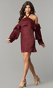 Image of tiered-sleeve off-the-shoulder halter party dress. Style: BLH-DD1155 Detail Image 2