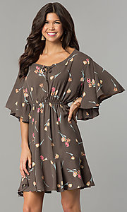Short Print Angel Sleeve Party Dress