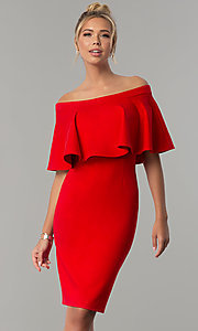 Image of short red party dress with off-the-shoulder flounce. Style: AL-HL-260 Front Image