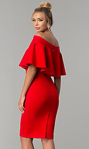 Image of short red party dress with off-the-shoulder flounce. Style: AL-HL-260 Back Image
