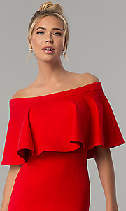 Image of short red party dress with off-the-shoulder flounce. Style: AL-HL-260 Detail Image 1