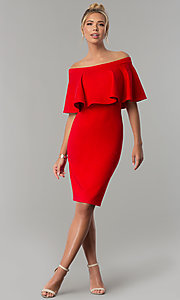 Image of short red party dress with off-the-shoulder flounce. Style: AL-HL-260 Detail Image 2