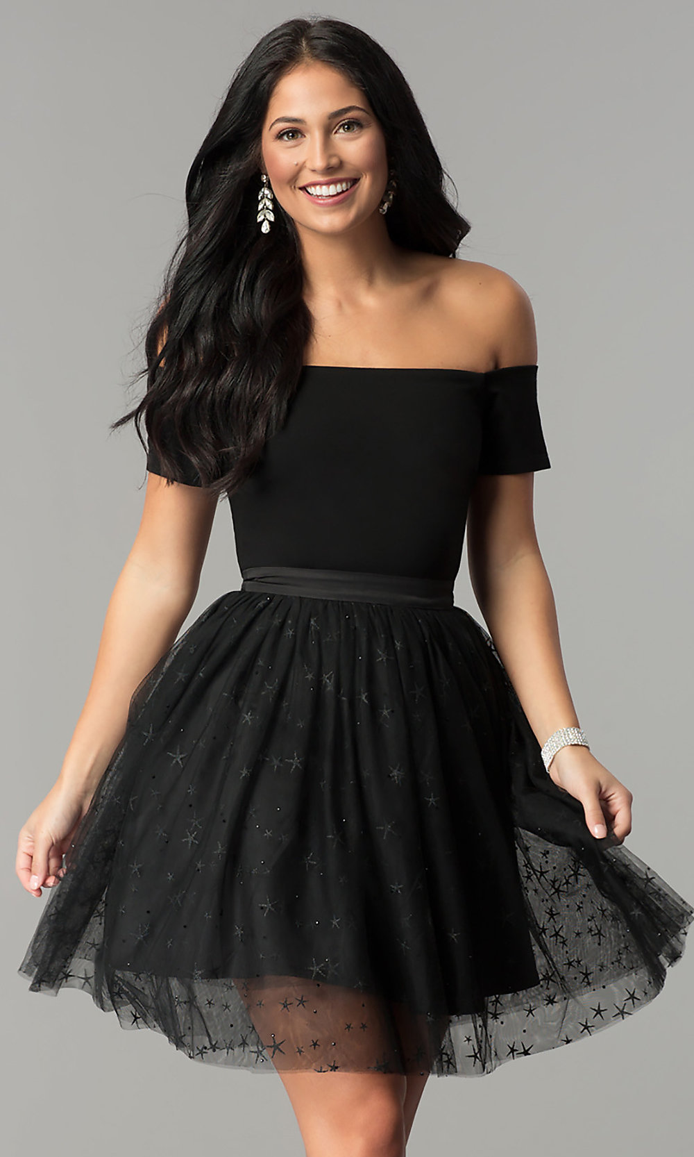 buying now outlet store sale discount Black Glitter-Print Tulle Short Party Dress - PromGirl