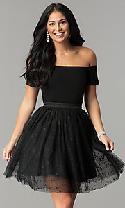 Image of short black party dress with glitter stars. Style: AL-HL-111S Front Image