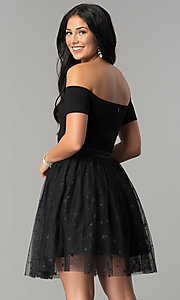 Image of short black party dress with glitter stars. Style: AL-HL-111S Back Image