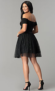 Image of short black party dress with glitter stars. Style: AL-HL-111S Detail Image 3