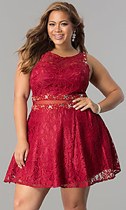 Image of sheer-waist short plus-size lace party dress. Style: DQ-2053P Front Image