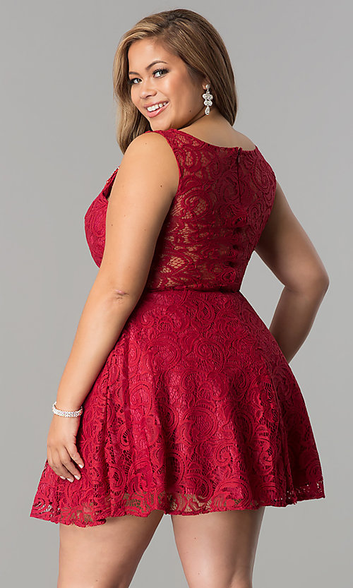 Image of sheer-waist short plus-size lace party dress. Style: DQ-2053P Back Image