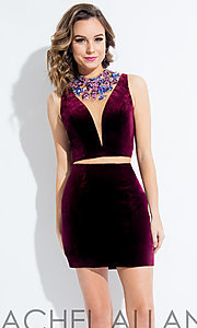 Velvet Illusion V-Neck Two-Piece Homecoming Dress