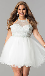Image of plus-size corset-back a-line short prom dress. Style: DQ-2052P Front Image