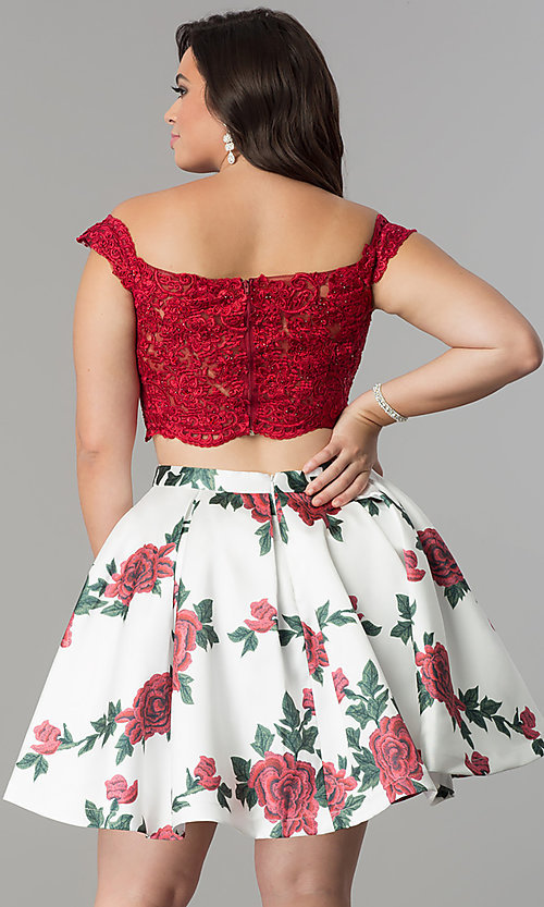 Image of short two-piece homecoming plus-size dress with print. Style: DQ-2031P Back Image