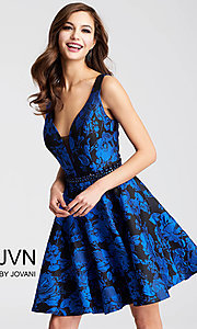 Blue and Black Print V-Neck Homecoming Dress
