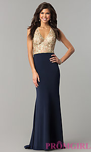 Image of long v-neck prom dress with sequin-embellished bodice. Style: NC-2130 Front Image