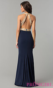 Image of long v-neck prom dress with sequin-embellished bodice. Style: NC-2130 Back Image