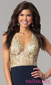 Image of long v-neck prom dress with sequin-embellished bodice. Style: NC-2130 Detail Image 1