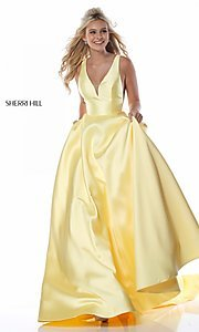 Image of a-line long Sherri Hill prom dress with pockets. Style: SH-51856 Detail Image 2
