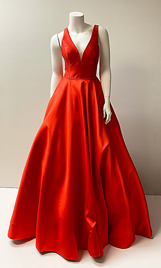 Long A-Line Low V-Neck Prom Ball Gown with Pockets
