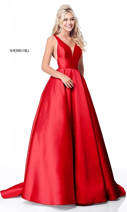 Image of a-line long Sherri Hill prom dress with pockets. Style  SH 7cfe96657