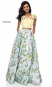 Long Print A-Line V-Neck Prom Dress