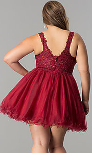 Image of plus-size short v-neck lace-bodice homecoming dress. Style: DQ-2054P Back Image