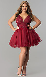 Image of plus-size short v-neck lace-bodice homecoming dress. Style: DQ-2054P Detail Image 2