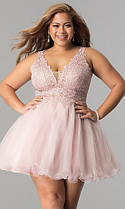 Image of plus-size short v-neck lace-bodice homecoming dress. Style: DQ-2054P Front Image