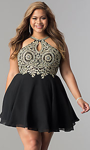 Image of plus-size lace-bodice short homecoming dress. Style: DQ-2078P Detail Image 1