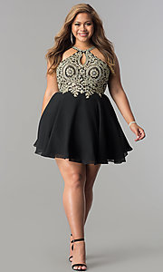 Image of plus-size lace-bodice short homecoming dress. Style: DQ-2078P Detail Image 2