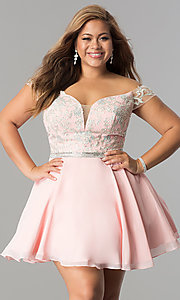 Image of off-the-shoulder plus-size short homecoming dress. Style: DQ-9983P Detail Image 3
