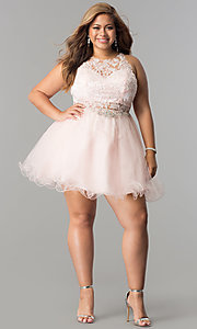 Image of short plus-size lace-applique homecoming party dress. Style: DQ-9999P Detail Image 3