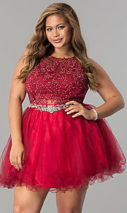 Image of short plus-size lace-applique homecoming party dress. Style: DQ-9999P Front Image