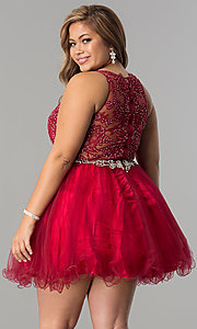 Image of short plus-size lace-applique homecoming party dress. Style: DQ-9999P Back Image