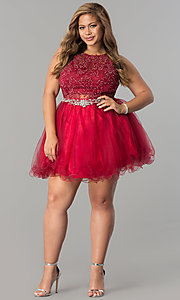 Image of short plus-size lace-applique homecoming party dress. Style: DQ-9999P Detail Image 1