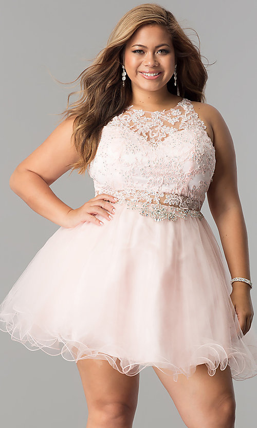 Image of short plus-size lace-applique homecoming party dress. Style: DQ-9999P Detail Image 2