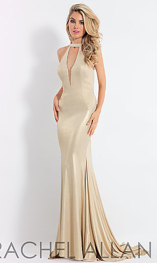 Long Metallic High-Neck Prom Dress with a V-Neck Cut-Out
