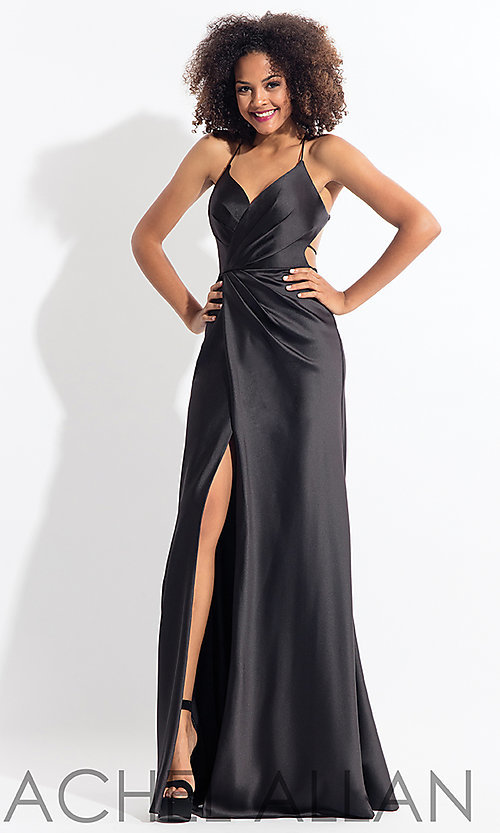 Image of long open-back satin Rachel Allan prom dress. Style: PT-RA-6144 Front Image