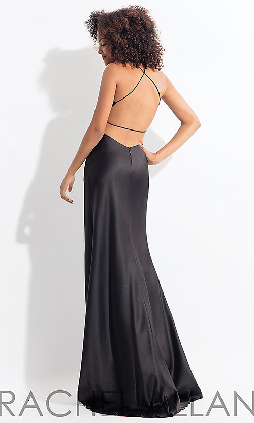 Image of long open-back satin Rachel Allan prom dress. Style: PT-RA-6144 Back Image