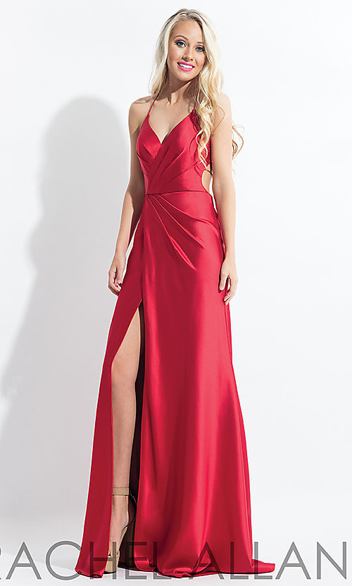 Image of long open-back satin Rachel Allan prom dress. Style: PT-RA-6144 Detail Image 2