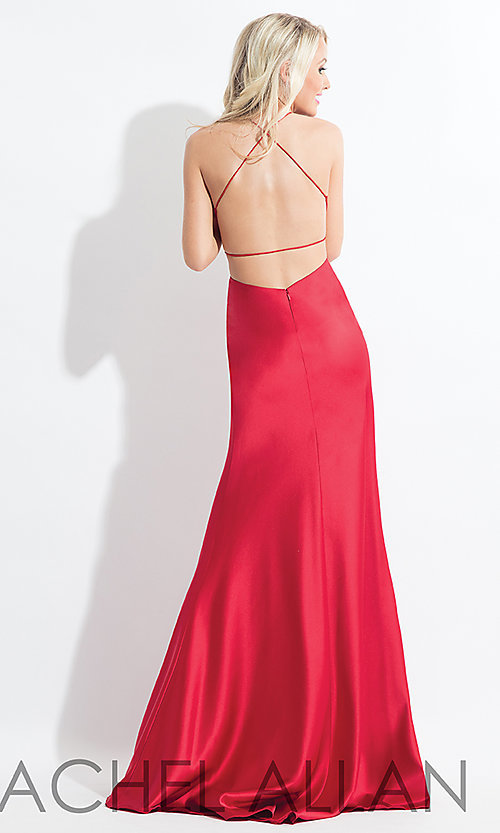 Image of long open-back satin Rachel Allan prom dress. Style: PT-RA-6144 Detail Image 3