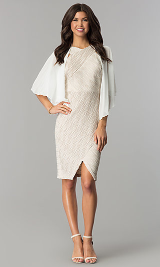 Sheer Ivory Open Front Flutter Sleeve Shawl