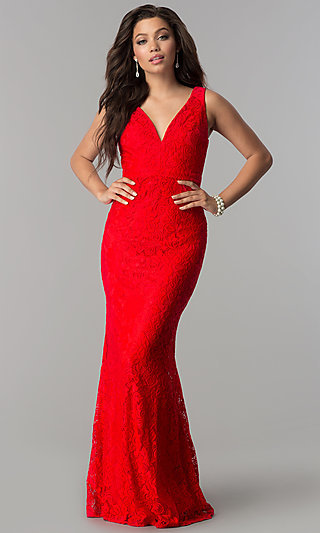 V-Neck Long Lace Navy Prom Dress with Back Cut Out