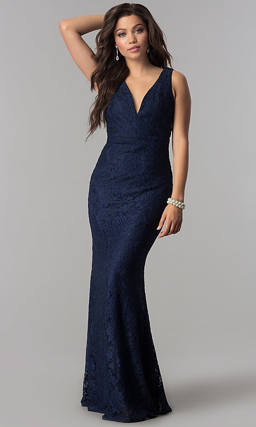 Image of v-neck long lace navy prom dress with back cut out. Style: LP-24161n Front Image