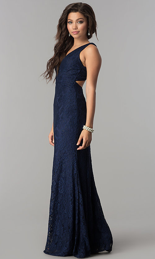 Image of v-neck long lace navy prom dress with back cut out. Style: LP-24161n Detail Image 2
