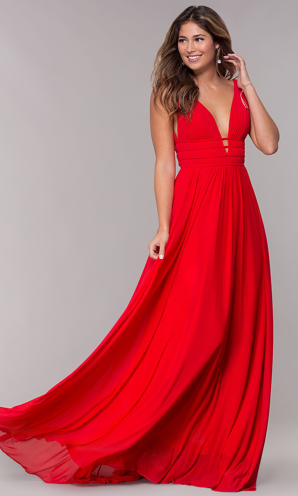 Sleeveless Long Ruched V Neck Prom Dress Promgirl