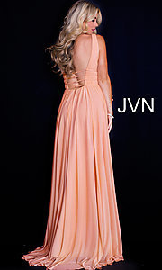Image of JVN by Jovani sleeveless ruched v-neck prom dress. Style: JO-JVN-JVN52179 Back Image