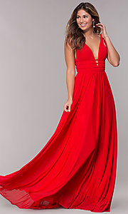 Image of JVN by Jovani sleeveless ruched v-neck prom dress. Style: JO-JVN-JVN52179 Detail Image 1