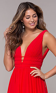 Image of JVN by Jovani sleeveless ruched v-neck prom dress. Style: JO-JVN-JVN52179 Detail Image 2