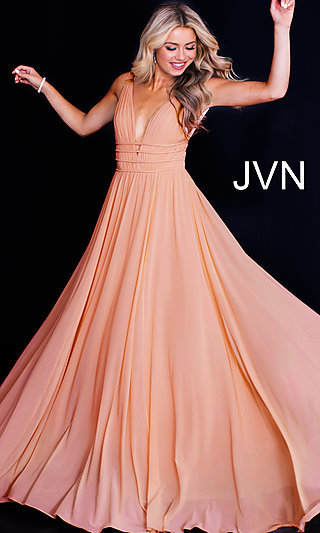 JVN by Jovani Sleeveless Ruched V-Neck Prom Dress
