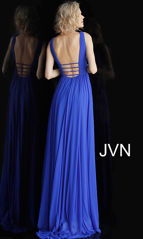 Image of JVN by Jovani sleeveless ruched v-neck prom dress. Style: JO-JVN-JVN52179 Detail Image 5