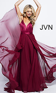 Image of long chiffon and satin v-neck prom dress. Style: JO-JVN-JVN51181 Front Image
